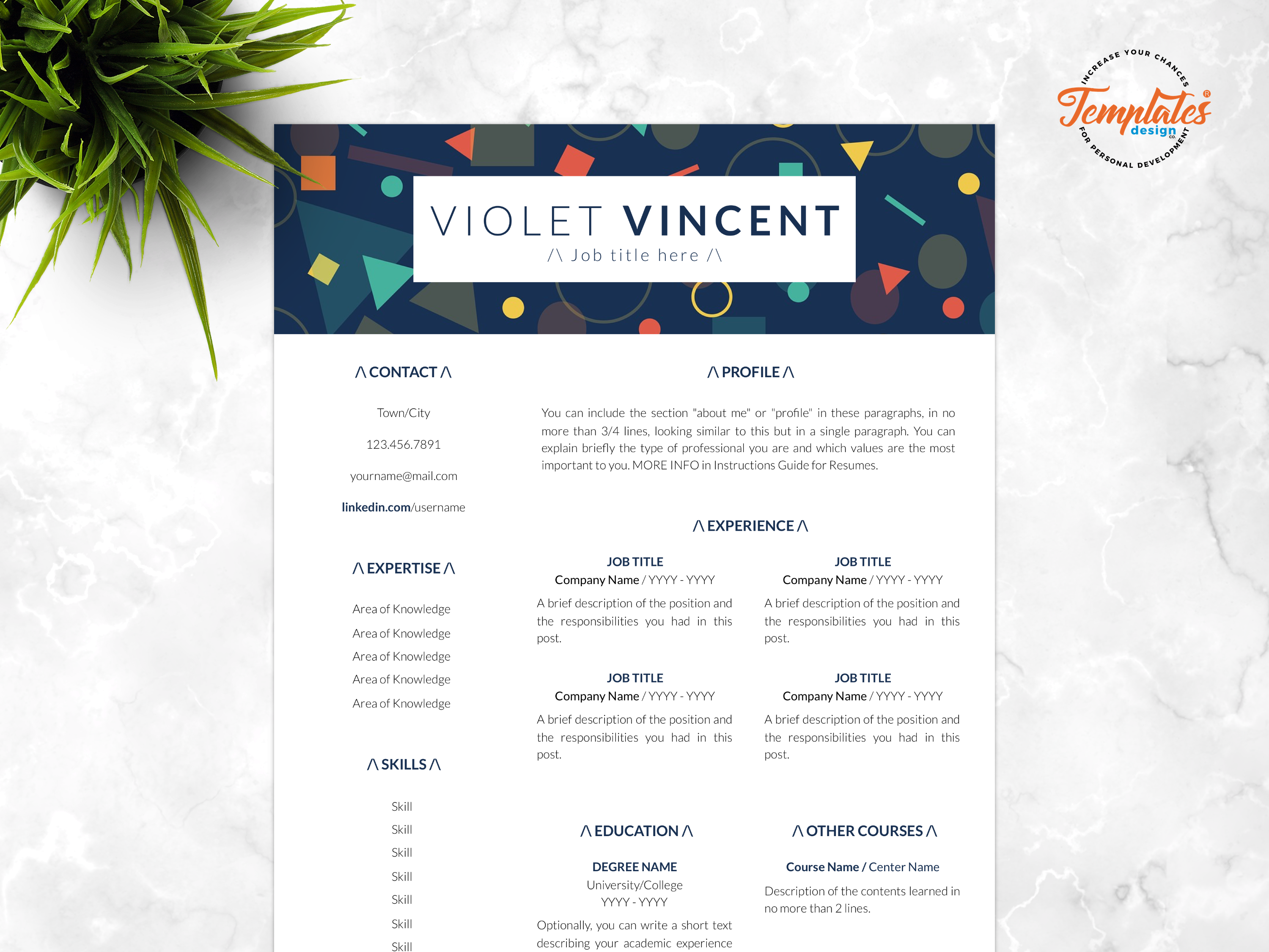 Resume template for word and pages   violet vincent   00 presentation