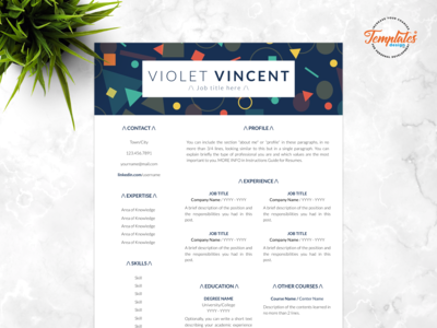 "Resume Template For Word And Pages ""Violet Vincent"""