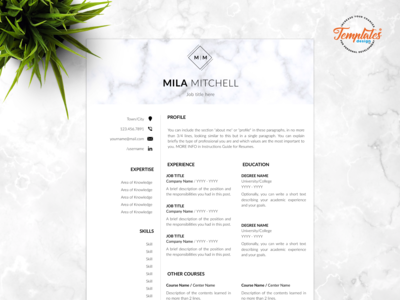"Resume Template For Word And Pages ""Mila Mitchell"""