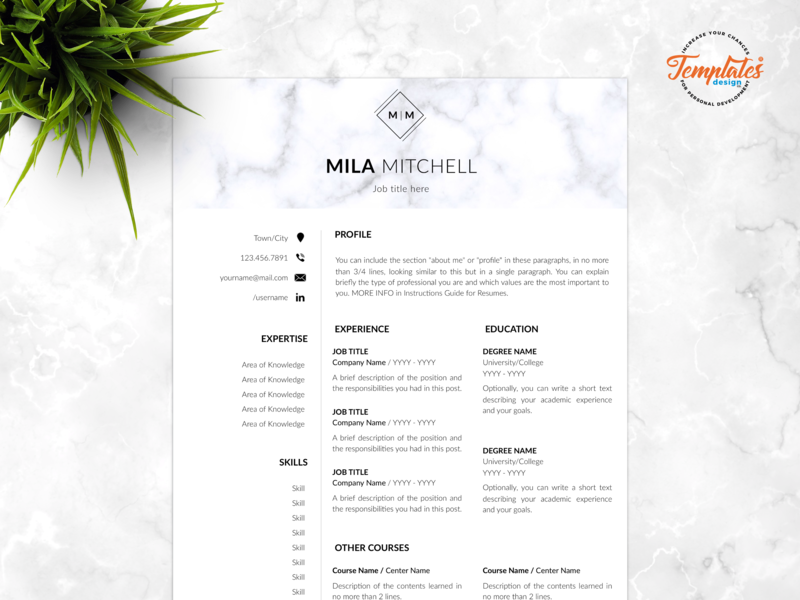 "Resume Template For Word And Pages ""Mila Mitchell"" resume format resume with cover resume design perfect resume 3 page resume 2 page resume 1 page resume resume template modern resume professional resume resume for pages resume for word cv template"