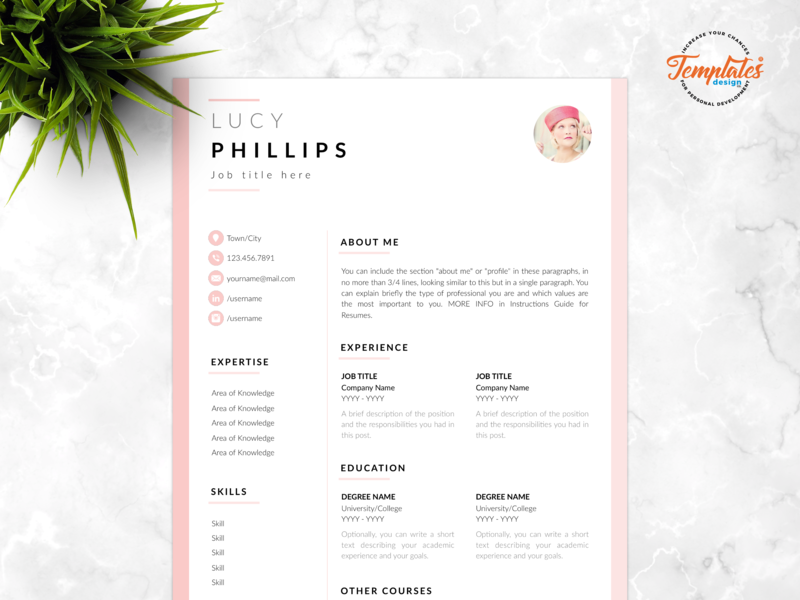 "Resume Template For Word And Pages ""Lucy Phillips"" photo resume female resume resume with photo resume word feminine resume resume template creative resume modern resume professional resume three page resume two page resume one page resume cv template"
