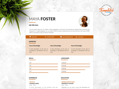 "Resume Template For Word And Pages ""Maya Foster"""