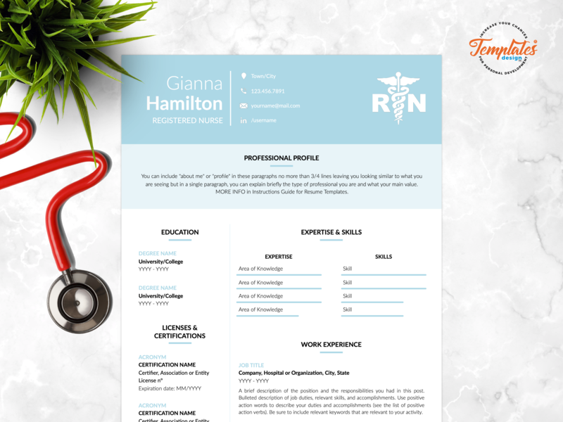 """Resume Template For Word And Pages """"Gianna Hamilton"""" nurse graduate medical cv template resume template rn registered nurse physician assistant nurse template word cv instant download rn resume template medical resume word nurse cv template nursing resume word nurse resume professional resume"""