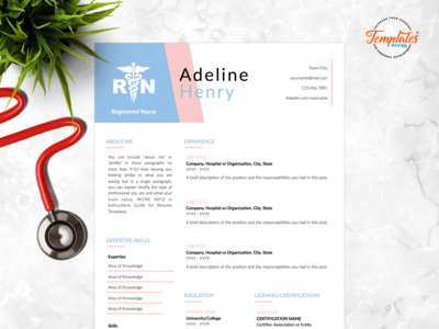 "Resume Template For Word And Pages ""Adeline Henry"""