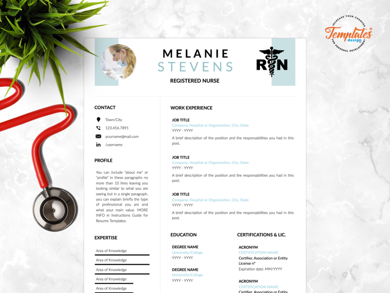 "Resume Template For Word And Pages ""Melanie Stevens"" curriculum vitae medical cv rn resume template nursing design certified assistant resume design creative nurse cv nursing resume registered nurse nurse cv template medical resume doctor resume nurse resume"