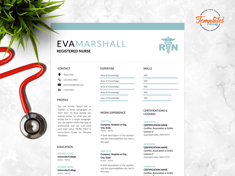 """Resume Template For Word And Pages """"Eva Marshall"""" modern resume resume template cv template one page resume three page resume health care manager best nurse resume medical assistant nurse graduate medical cv template resume template rn registered nurse physician assistant nurse template word rn resume template medical resume word nurse cv template nursing resume word"""