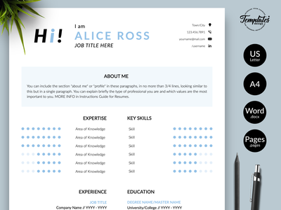 """Creative Resume for Word & Pages """"Alice Ross"""" resume with cover resume design curriculum vitae resume template word resume cv clean resume resume template creative resume modern resume professional resume resume for pages resume for word three page resume two page resume one page resume cv template simple resume"""