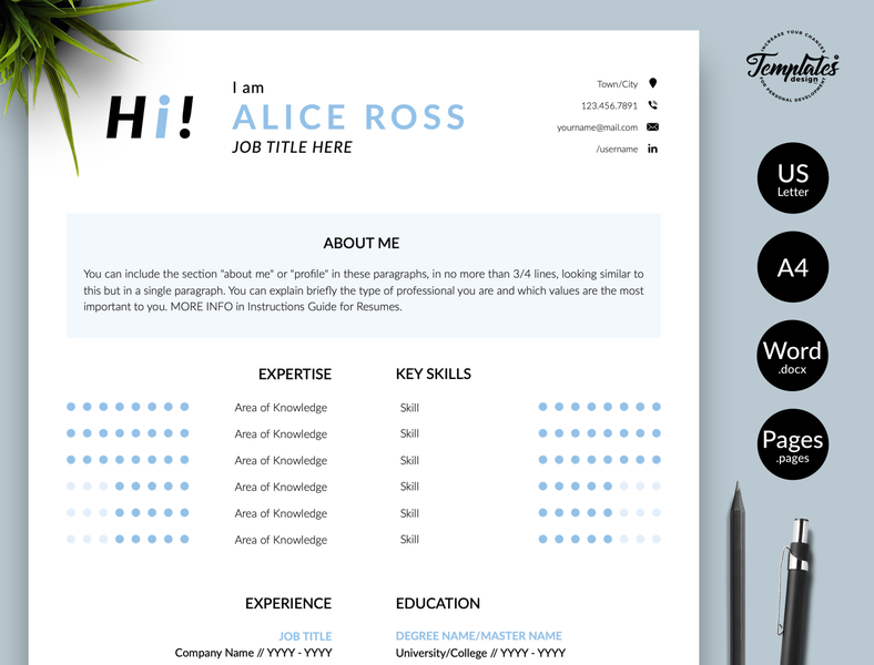"Creative Resume for Word & Pages ""Alice Ross"" resume with cover resume design curriculum vitae resume template word resume cv clean resume resume template creative resume modern resume professional resume resume for pages resume for word three page resume two page resume one page resume cv template simple resume"