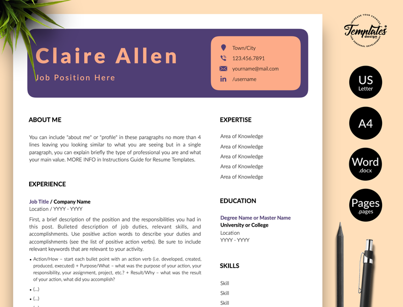 "Creative Resume for Word & Pages ""Claire Allen"" resume template word resume for word creative resume professional resume template for resume modern cv creative cv resume and cover resume word instant download resume design resume template modern resume three page resume two page resume one page resume cv template"