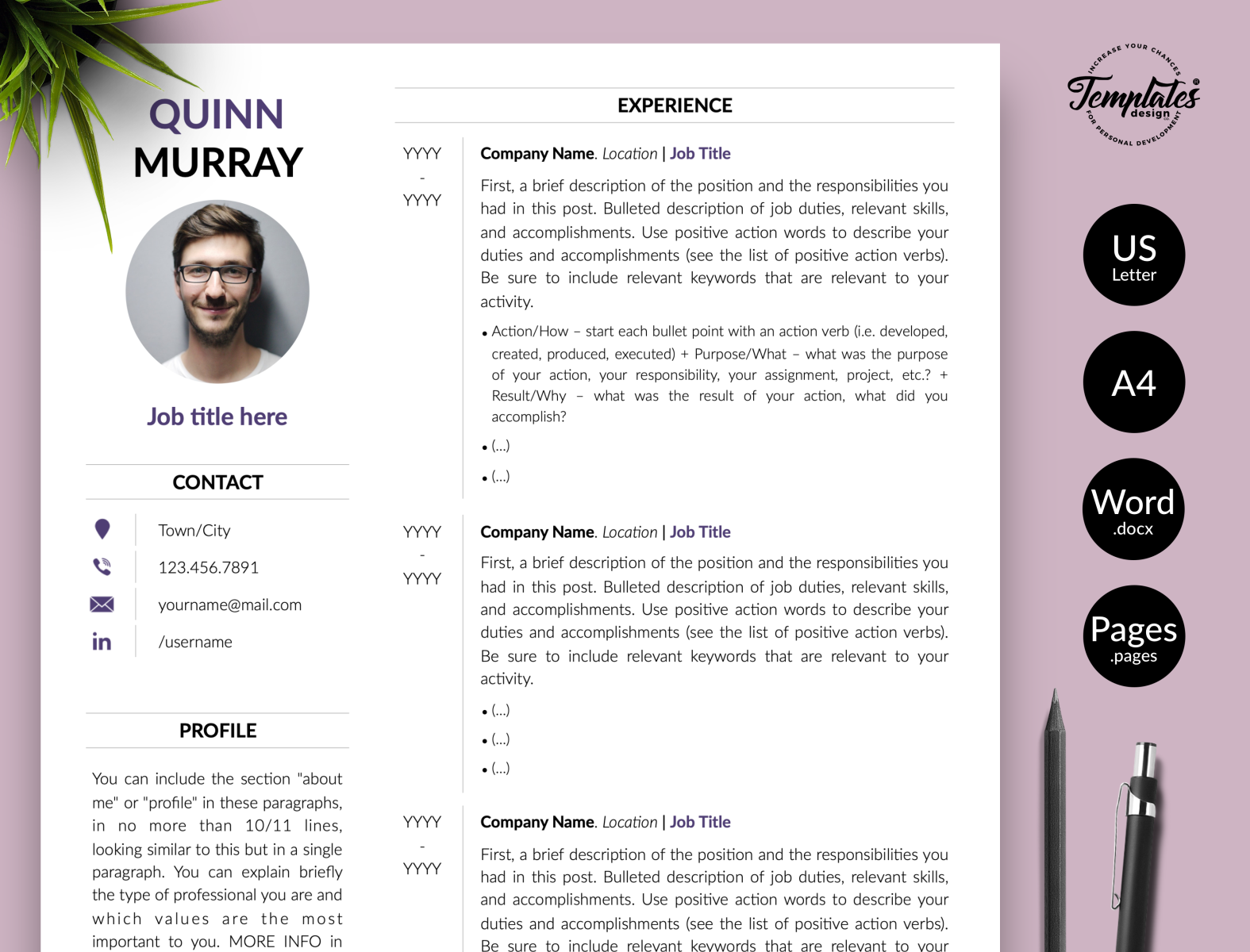 Modern Resume For Word Pages Quinn Murray By Templates Design