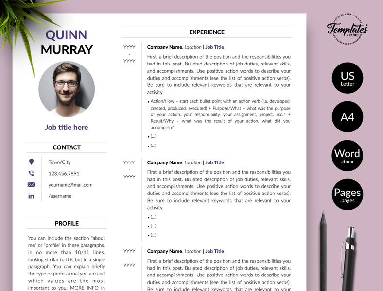 """Modern Resume for Word & Pages """"Quinn Murray"""" resume template cv design resume for pages resume cv resume clean resume design resume for word contemporary cv contemporary resume best cv template modern cv perfect cv resume with photo best resume template cv modern resume resume with cover editable resume cv for word clean resume any job position"""