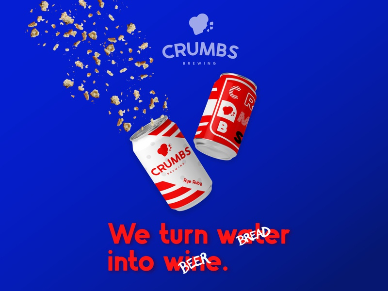 Crumbs brewing Ad Campaign ad campaign advertising beer handmade minimal vector typography logo flat design branding