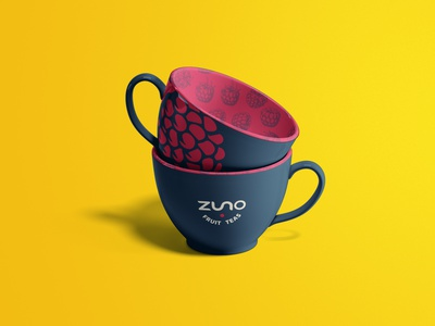 Zuno Fruit Teas Tea Cups graphic design mockup tea minimal logo design branding
