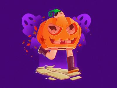 RUN TO THE PARTY pumpkin ghost draw creative  illustrator character illustrator vector creativity color halloween party illustration design