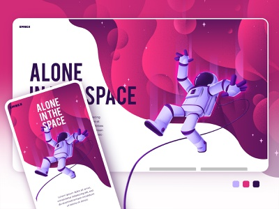 Alone in the space moon astronaut spaceman havana character photoshop illustrator draw design creativity vector color illustration