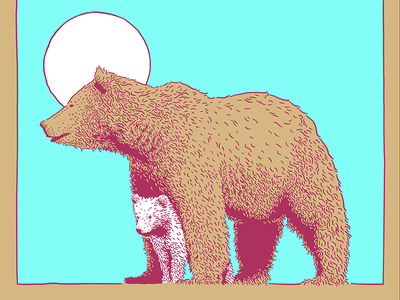 Momma Bear and Cub screen print illustration