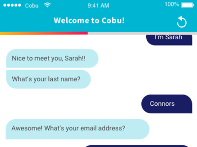 Onboarding Chat-bot chat bot chat app ui ux