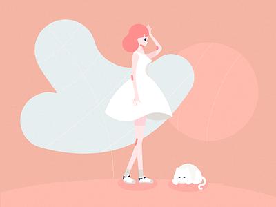 girlgirl cat pink illustration