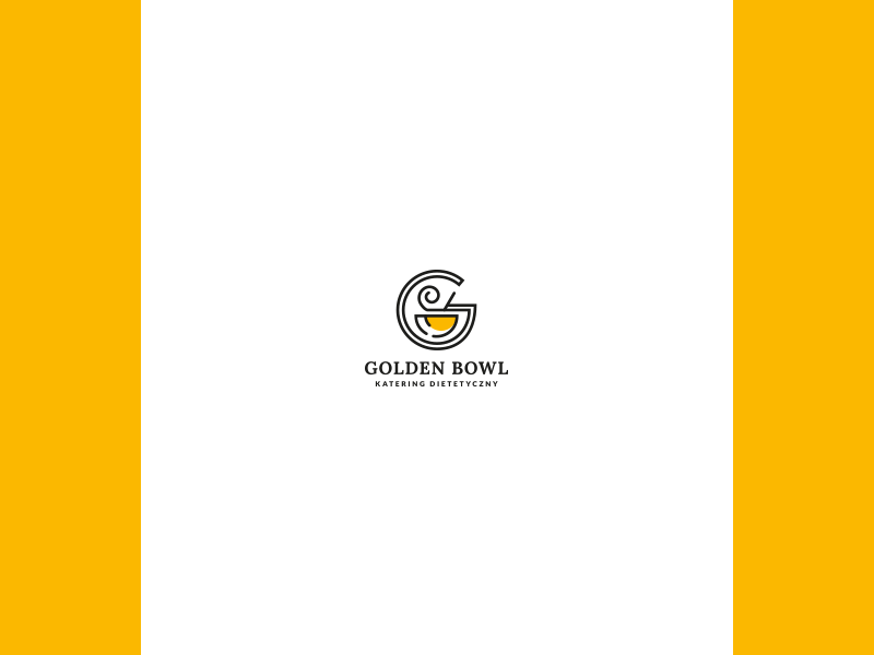 Golden Bowl restaurant yellow black illustration brand and identity design web logo branding vector