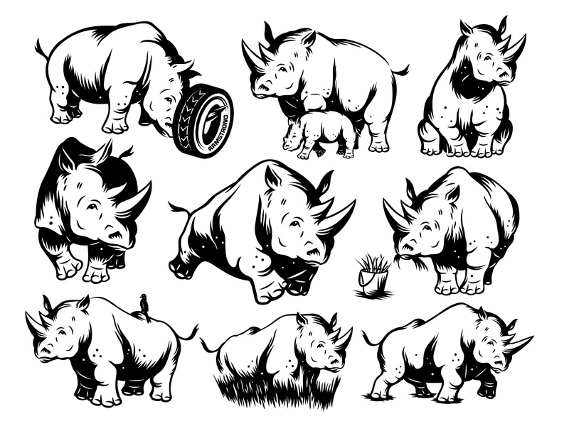 Armstrong Tires Tuffy Mascot Refinement viget character tires poses armstrong rhino mascot illustration