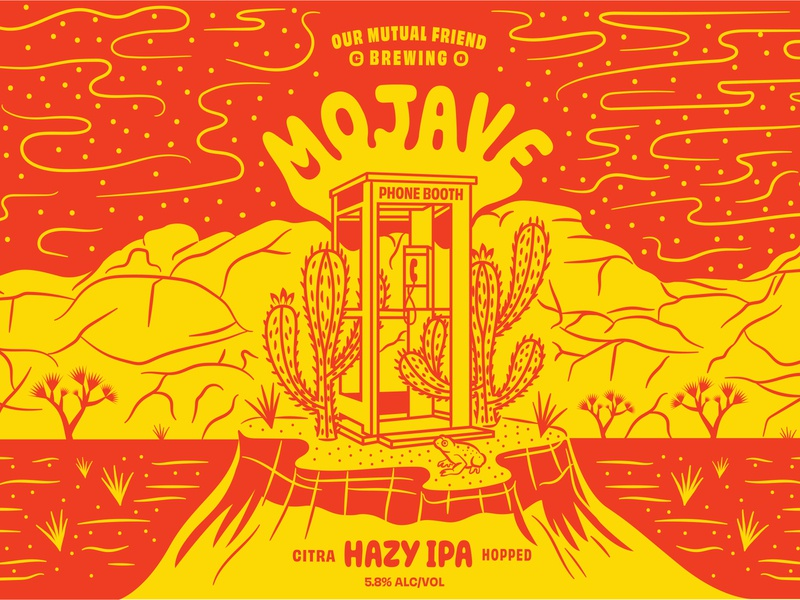 OMF Mojave Phone Booth graphic design colorado denver red spotted toad typography phone booth cactus our mutual friend hazy ipa mojave desert joshua tree illustration craft beer