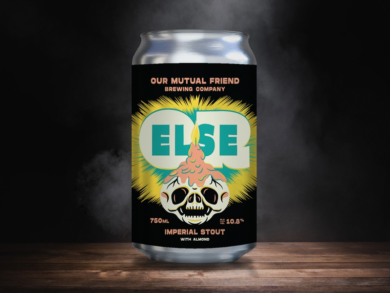 Our Mutual Friend OR ELSE Imperial Stout w/ Almond candle skull brewing company justin pervorse drew lakin illustration lettering package design beer packaging our mutual friend