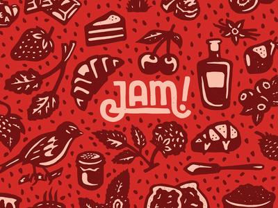 JAM! berries lettering pastry jam fruit pattern hand drawn illustration