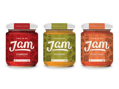 This Is My Jam fruit mockup drew lakin hand drawn illustration pattern lettering script packaging label jar jam
