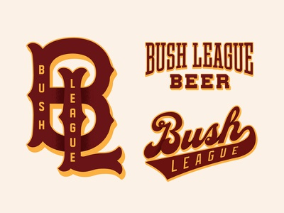 Bush League throwback beer tuscan monogram script baseball identity