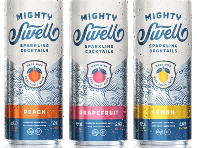 Mighty Swell Cocktails packaging beverage script waves illustration fruit cocktail sparkling austin mighty swell