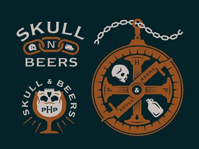 Skull N' Beers  illustration growler astrolabe chain goblet beer skull