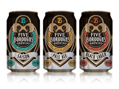 5 Boroughs Brewing Exploration five boroughs new york nyc illustration viewfinder black lager pale ale saison exploration can beer packaging