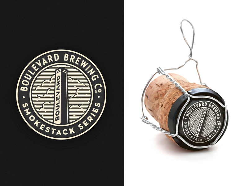 BLVD SS Caps illustration brewing brewery smokestack bottle cap packaging boulevard