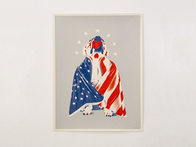 Dying Breed french paper limited edition screen print austin pets alive american flag pit bull poster