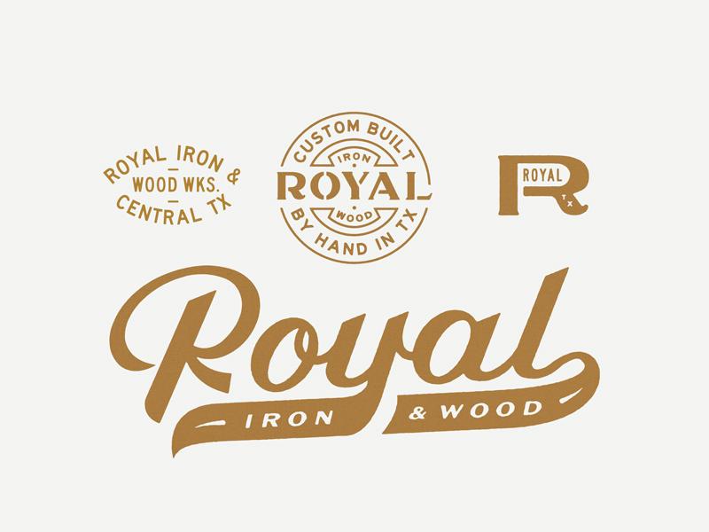 Royal Iron & Wood logo identity script royal