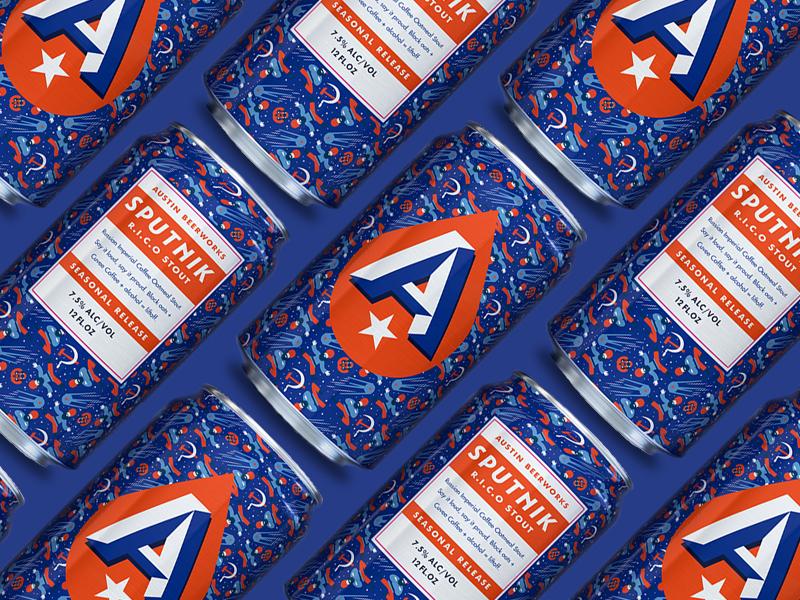 Sputnik Seasonal stout imperial russian beer can pattern packaging sputnik austin beerworks