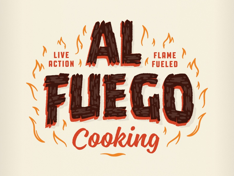 Al Fuego Logotype illustration branding event hot luck food flames fire wood lettering al fuego