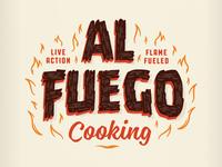 Al Fuego Logotype illustration branding event hot luck food flames fire wood lettering al fuego