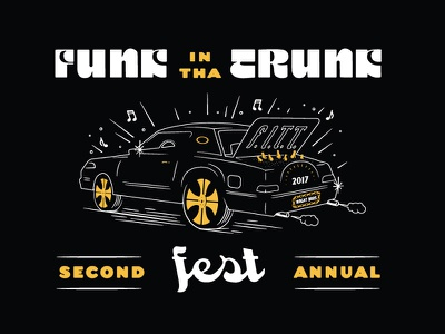 B&B Funk In The Trunk festival beer apparel rims illustration lettering typography car funk
