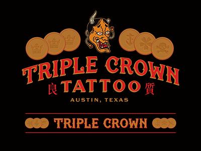Triple Crown Tattoo illustration branding identity hannya kanji coin lettering crown texas austin triple crown tattoo