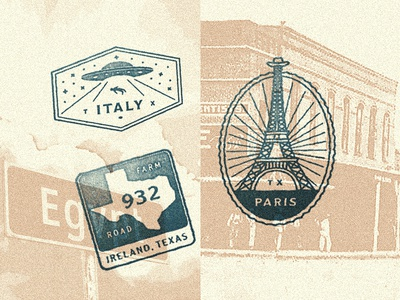 BBBC International Tour of Texas Stamps passport cowboy hat eiffel tour farm road ufo texas paris ireland italy stamp