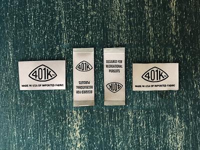 401K Tags badge logo identity brand apparel tag 401k