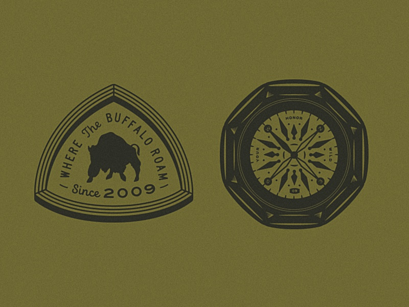 Apparel WIP patch badge compass illustration apparel buffalo