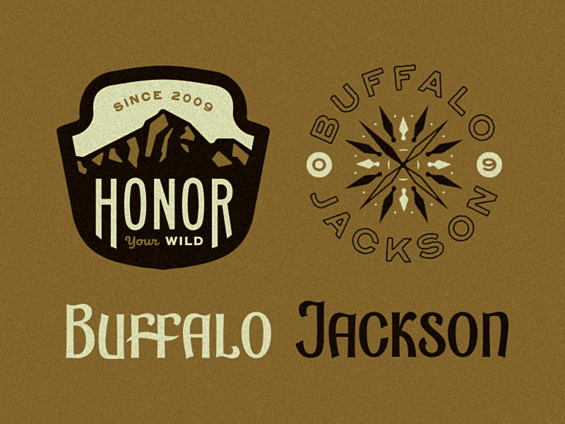 Buffalo Jackson buffalo jackson custom type patch mountain lettering typography compass seal badge