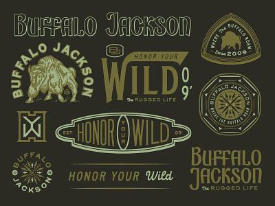 BUFFALO JACKSON seal badge monogram compass illustration custom type lettering buffalo buffalo jackson