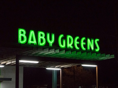 Baby Greens Rooftop Neon exterior design environmental typography custom type lettering baby greens restaurant signage neon