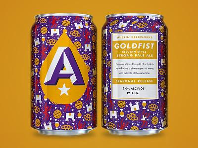 ABW Goldfist Seasonal waffle castle brass knuckles devil illustration seasonal packaging can beer pattern austin beerworks