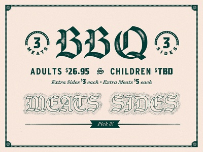 Menu Assets custom type sides meats typography lettering gothic blackletter texture bbq menu