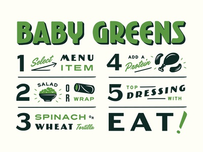 How to Order at Baby Greens exterior how to typography lettering illustration wrap salad baby greens menu infographic