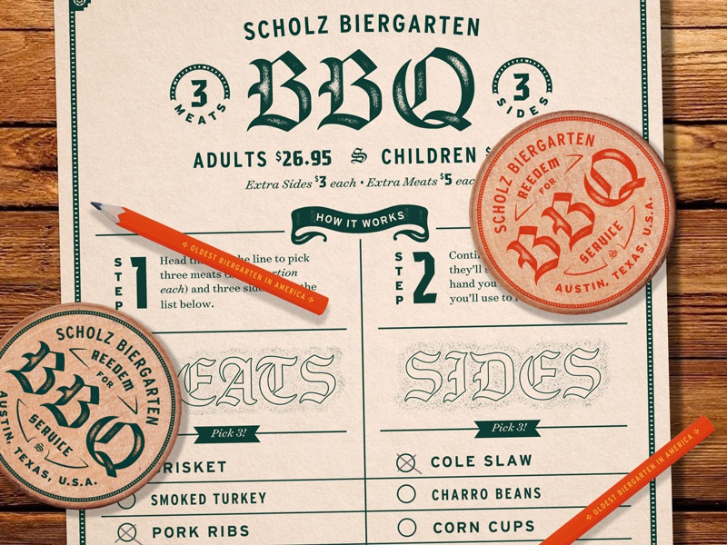 Sholz Biergarten Menu banner lettering scholz biergarten brand extension pencil buffalo nickel print bbq menu